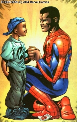 Lafronce and his pal Spider-Man. Art by Mark Buckingham. Spider-Man (C) Marvel Comics.